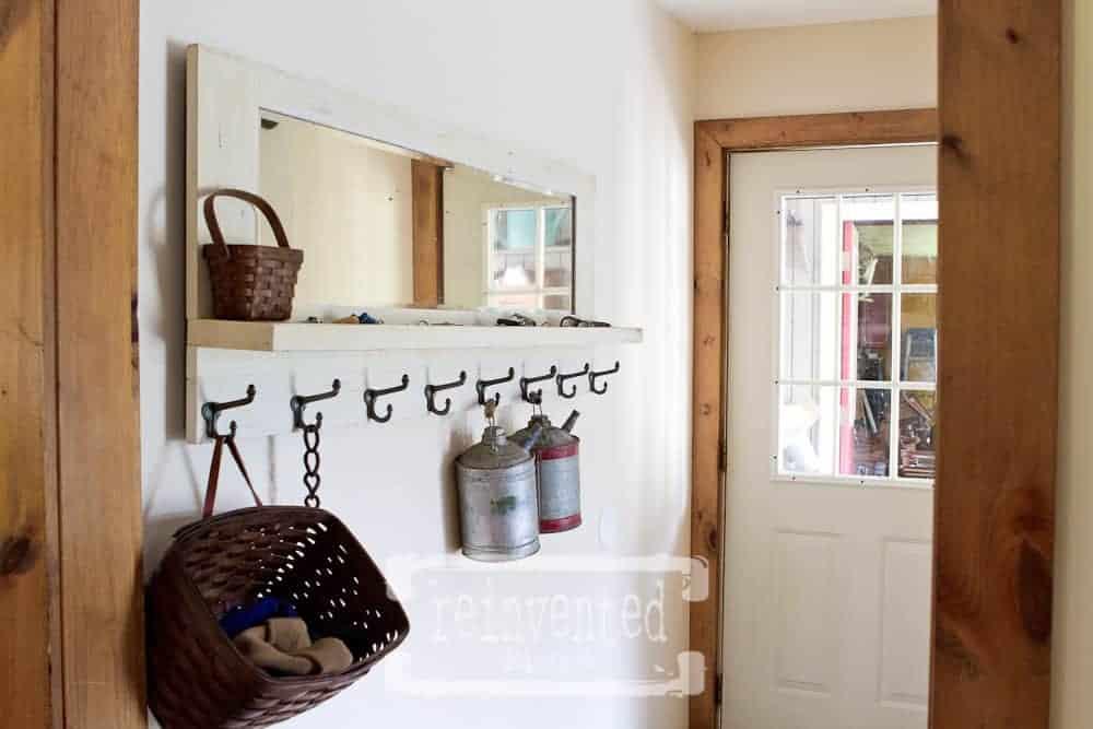 repurposed vintage craftsman mirror coat rack