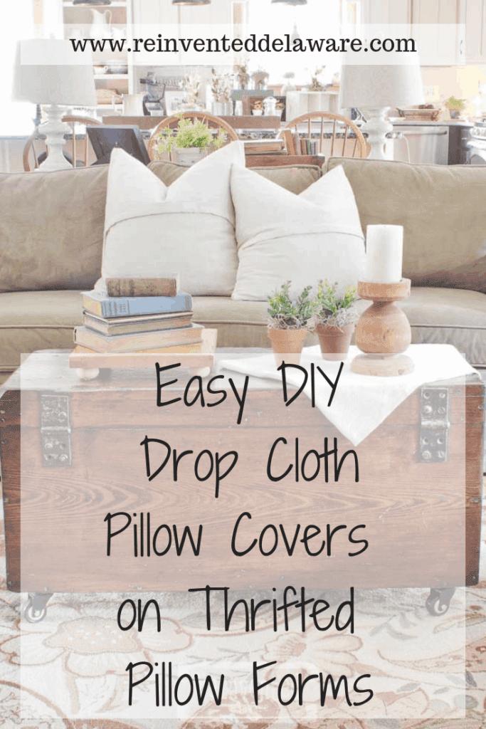 drop cloth pillow covers