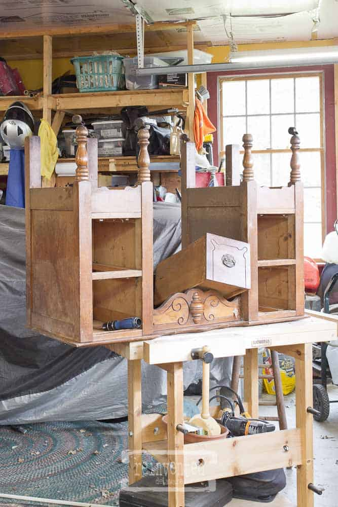 transform vintage vanity into nightstands