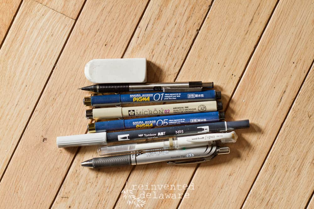 various pens for bullet journaling