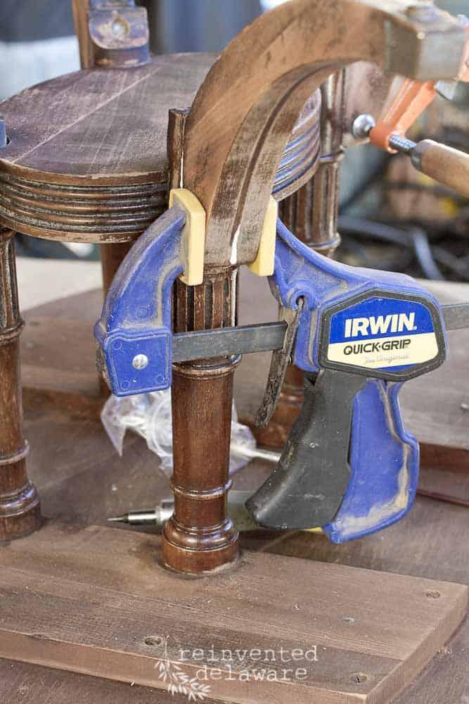 wood clamp on broken coffee table leg