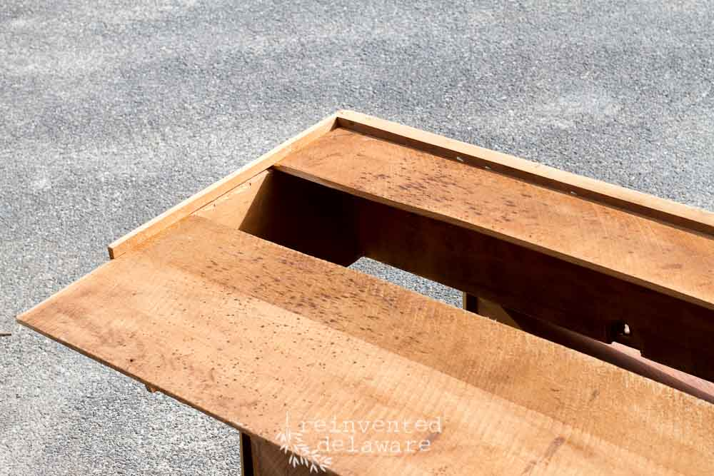 antique drawer repair with glue in groove