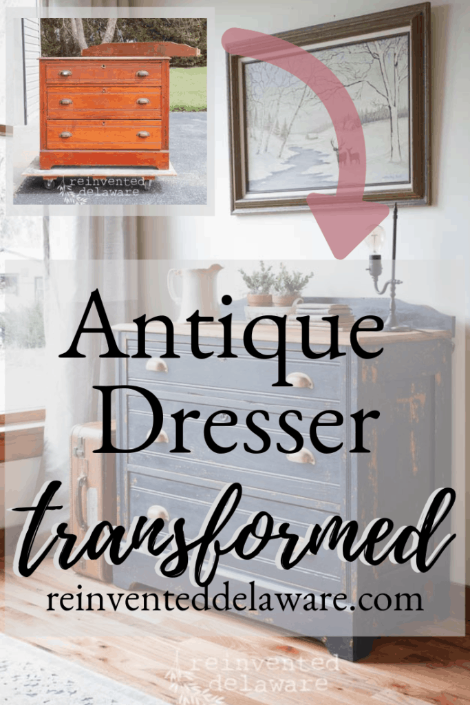 graphic showing before and after of antique dresser transformation