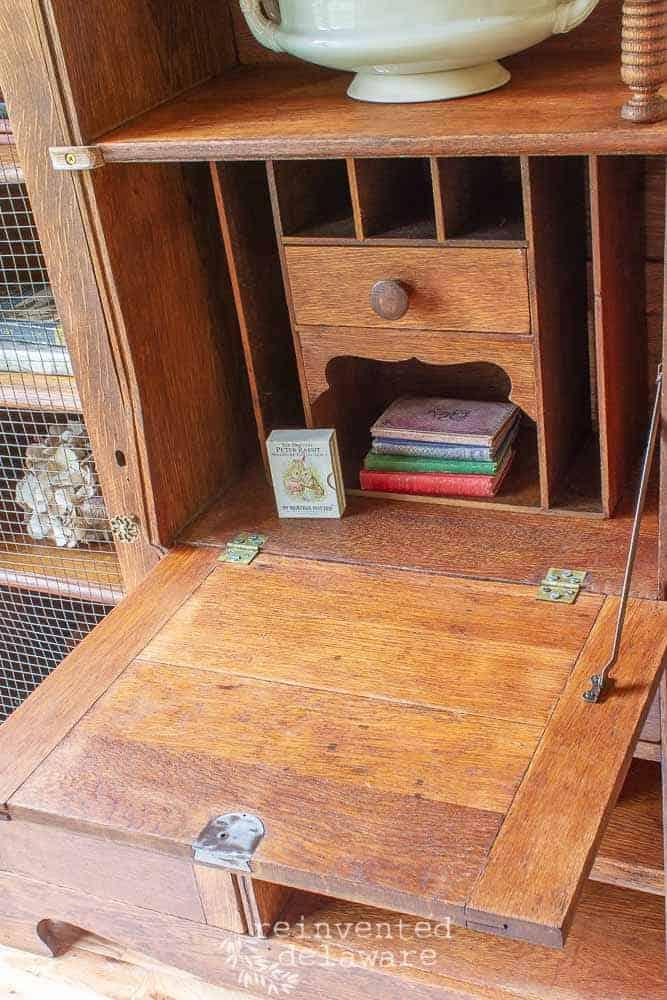 restored vintage side by side secretary desk close up of interior of desk