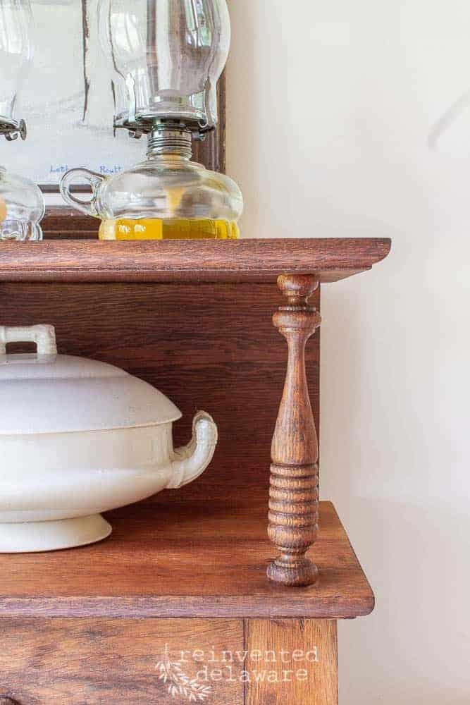 secretary desk close up of shelf