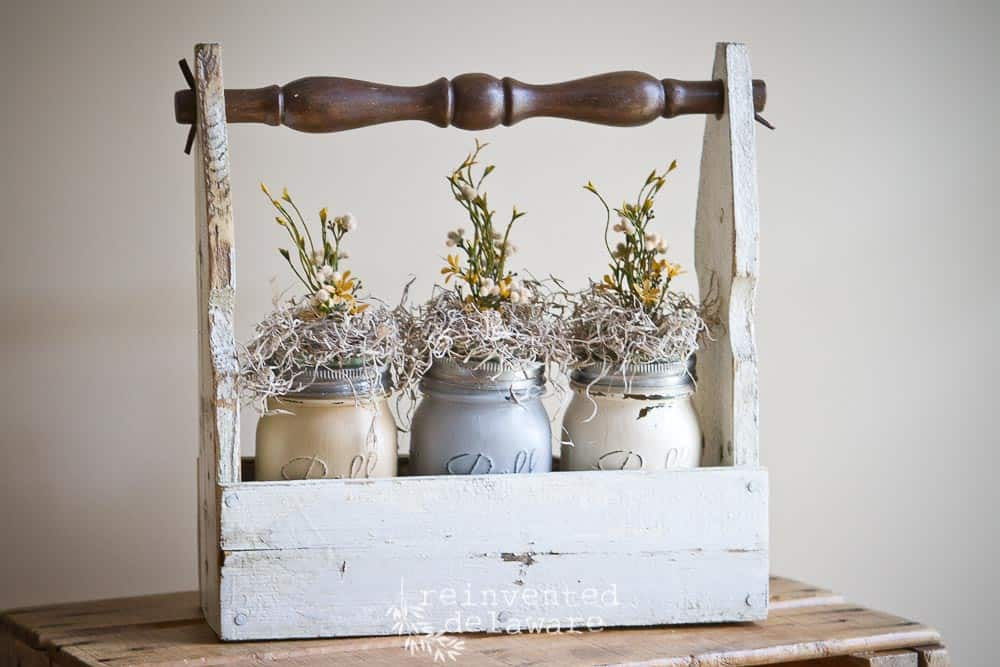 DIY picket crate with chair spindle handle and painted mason jars with florals