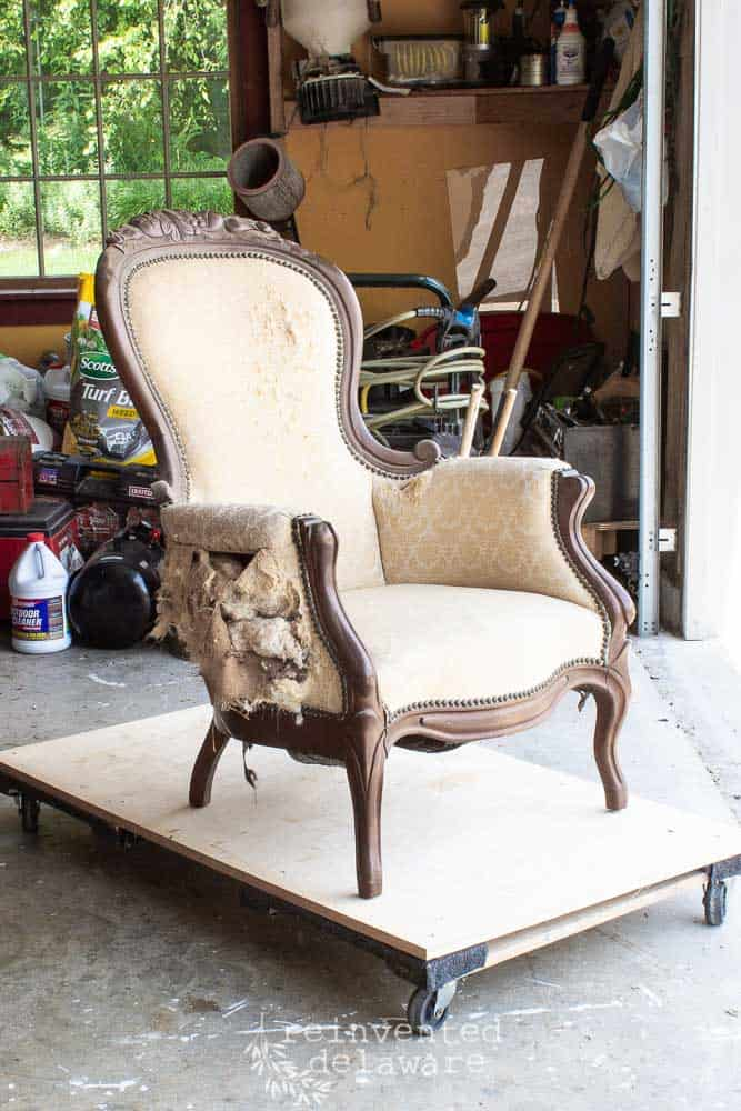 reupholstery project victorian chair with fabric removed