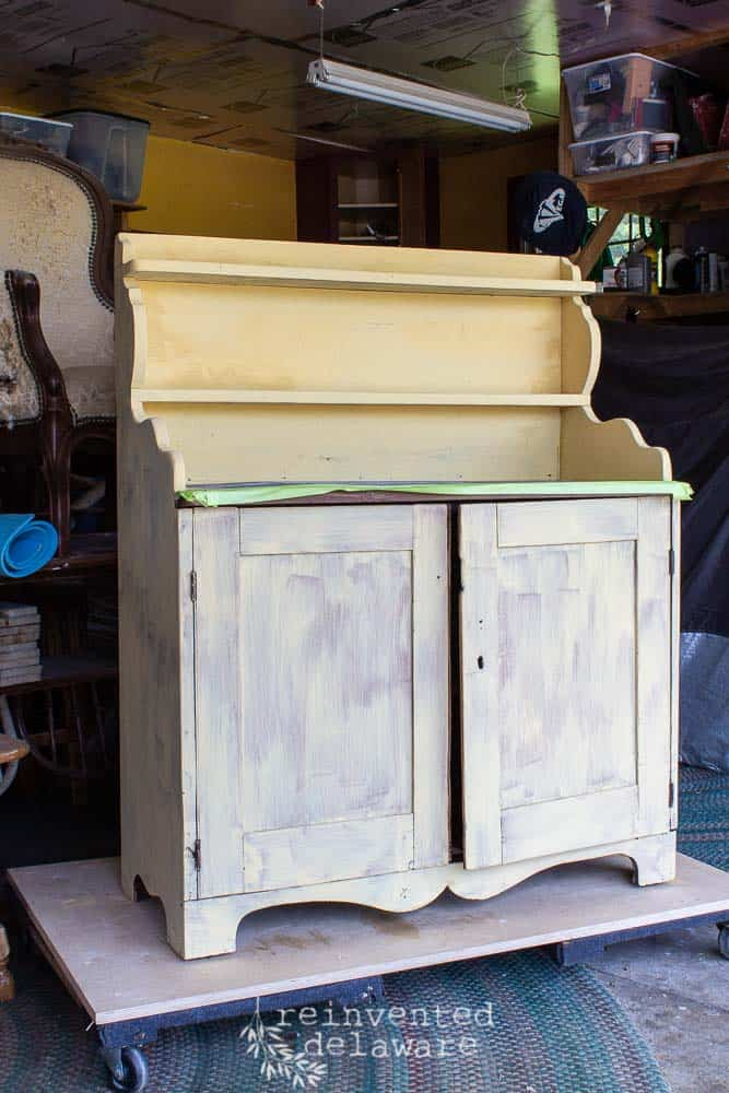 Antique pine cupboard painted Mustard Seed Yellow MMS Milk Paint first coat