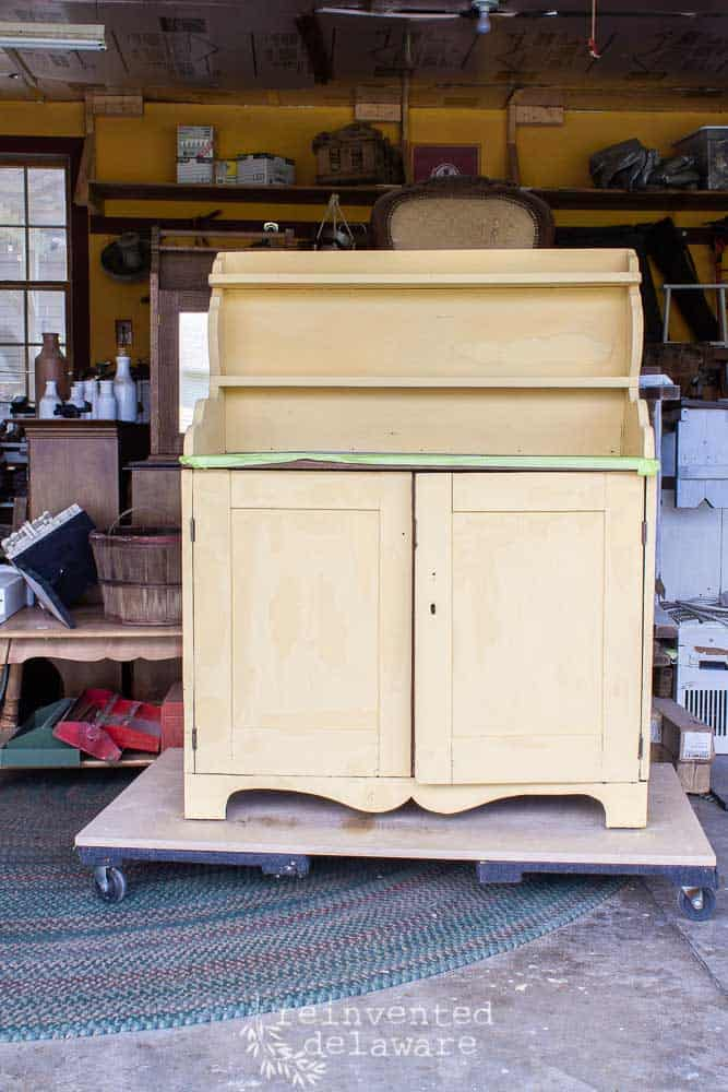 full view of antique pine cupboard painted Mustard Seed Yellow with MMS Milk Paint as furniture ideas
