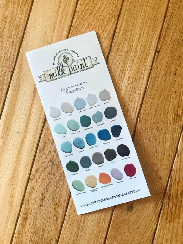 Miss Mustard Seed Milk Paint color chart showing milk paint furniture ideas