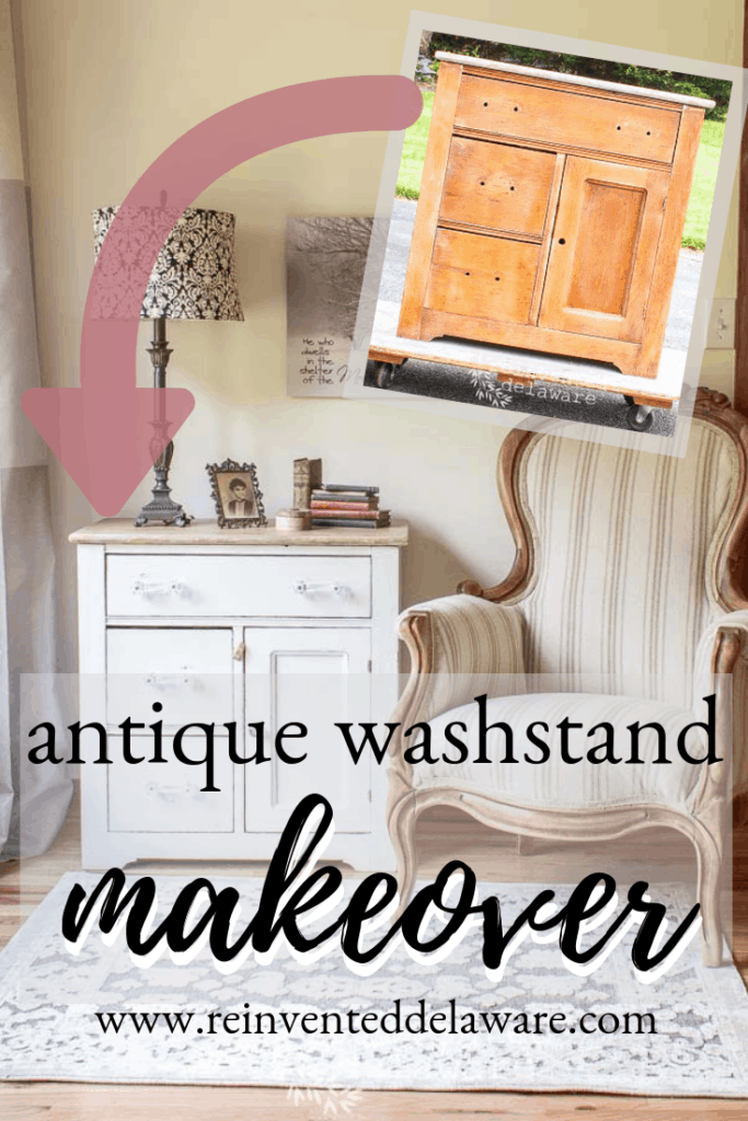 antique washstand makeover pinterest graphic showing before and after