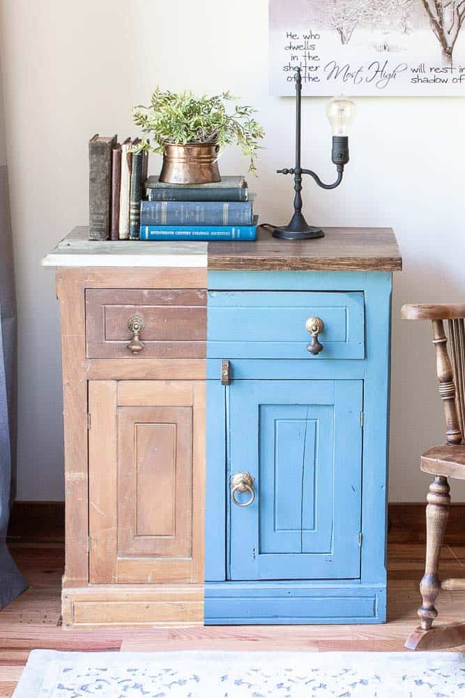before and after side by side shot of washstand makeover