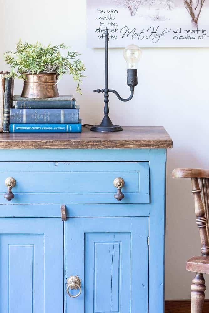 side view of wash stand that had milk paint applied in a French Enamel Blue Miss Mustard Seed Milk Paint