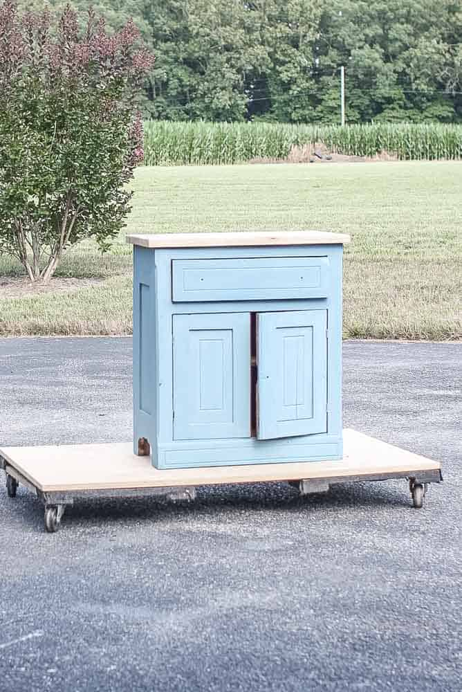 washstand after milk paint has been applied in a French Enamel Blue