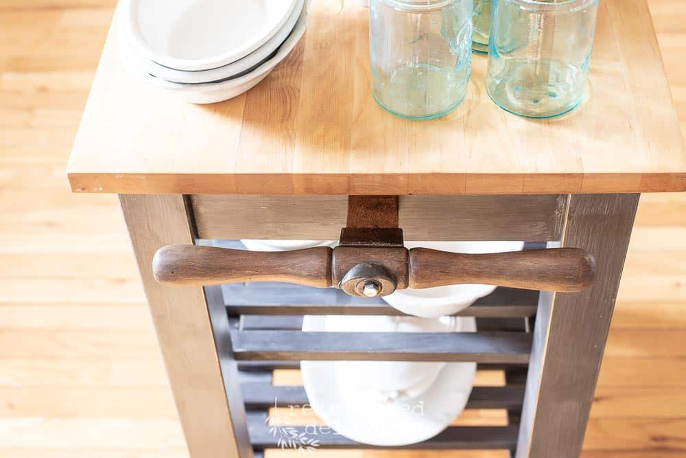 kitchen island makeover with garden tool handle for mobility