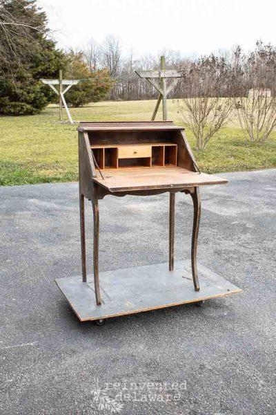 Oak Fold Down Secretary Desk  The Before