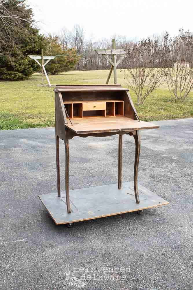 Oak Fold Down Secretary Desk |The Before