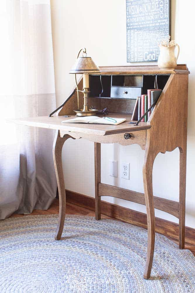 Graphic showing before and after of antique oak fold down desk
