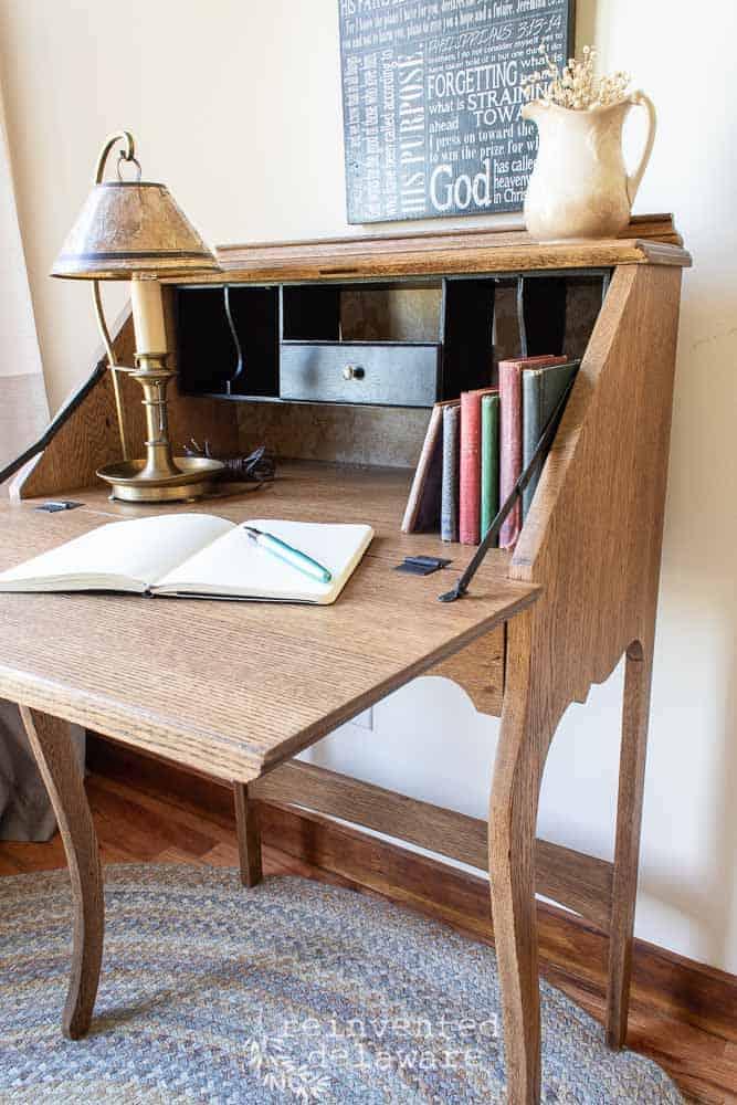 antique oak fold down desk with desk section open