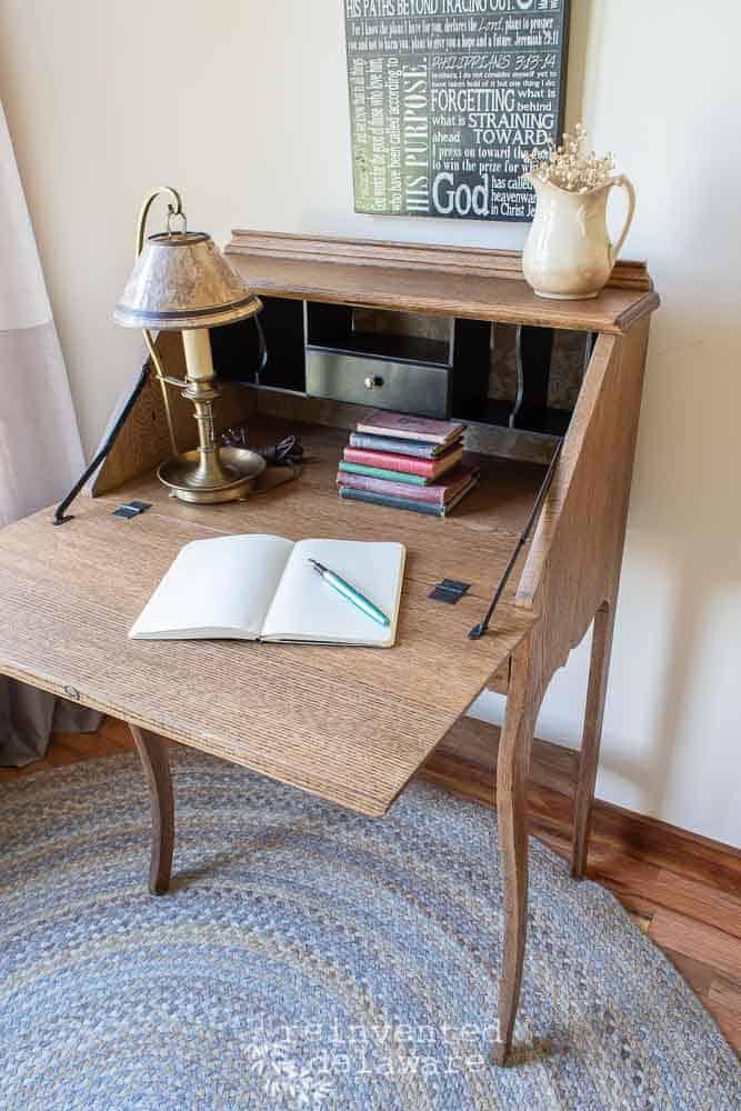 interior of antique oak fold down desk