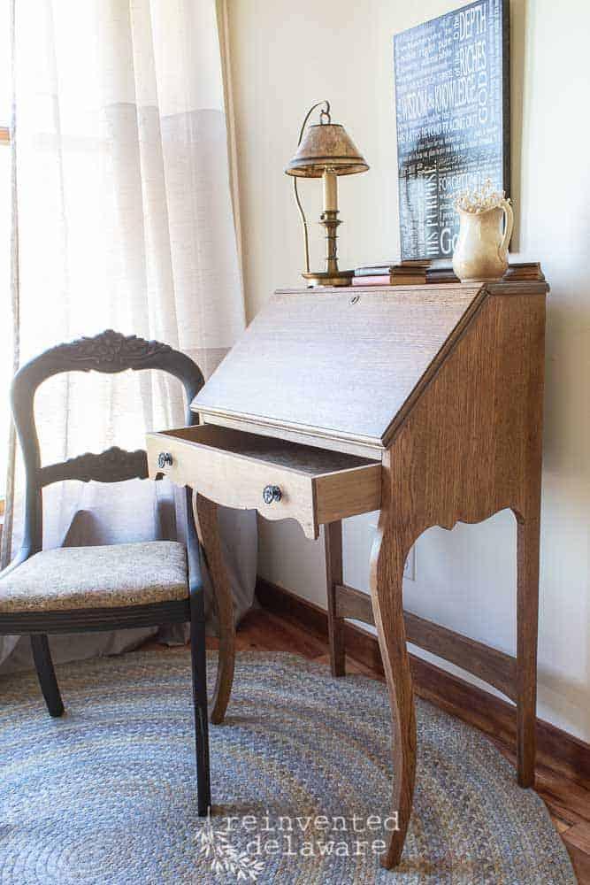 antique oak fold down desk