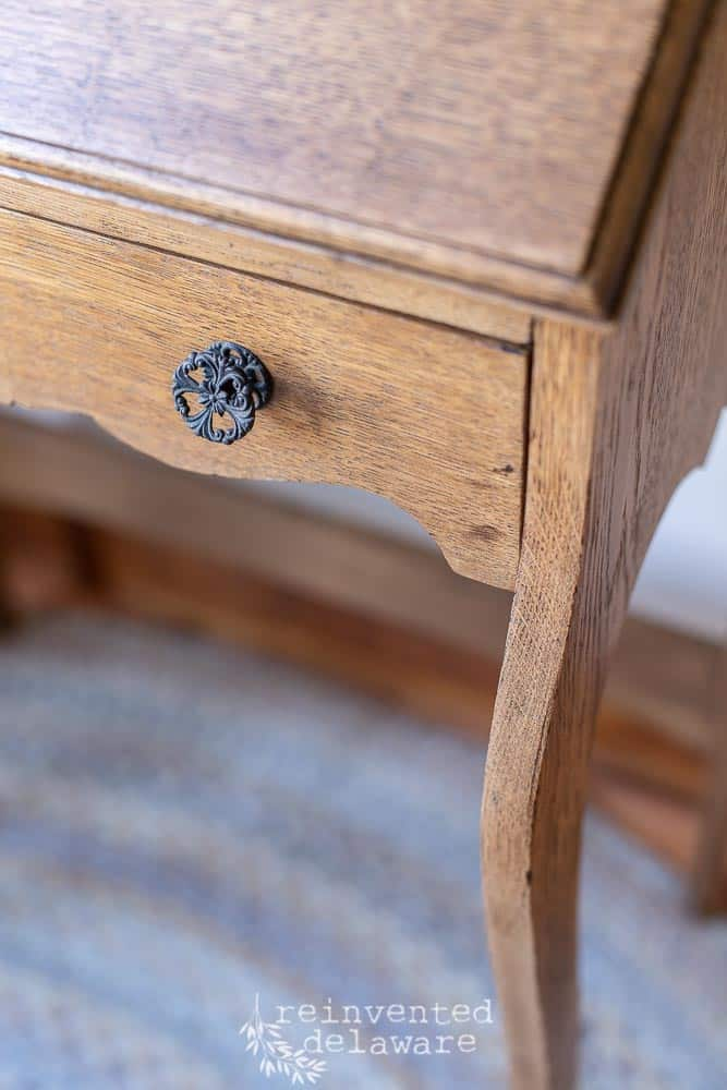 restored vintage hardware on antique oak fold down desk