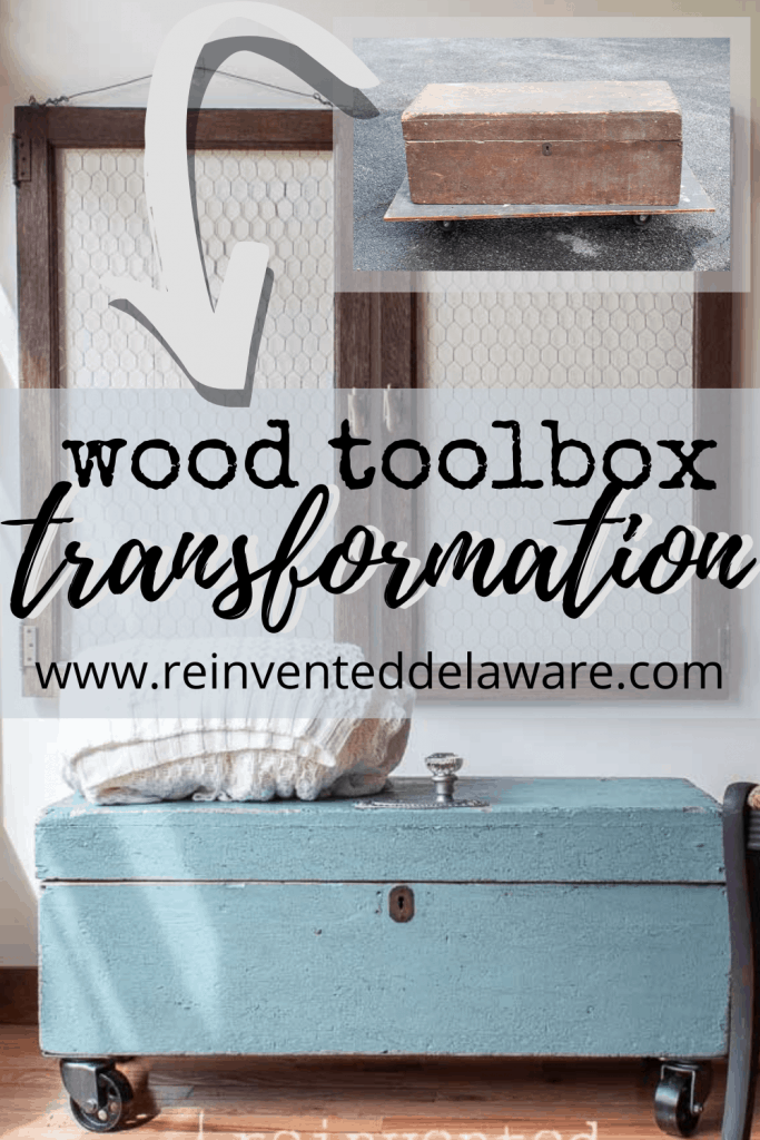 graphic showing before and after makeover of wood toolbox