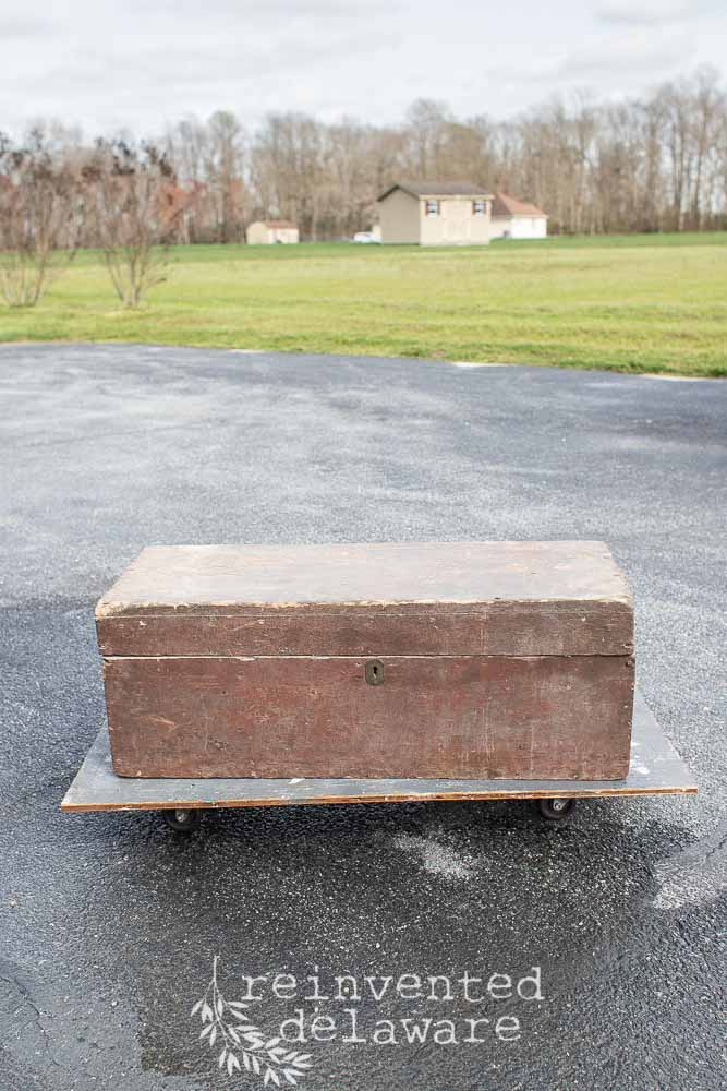 vintage wood toolbox before transformation