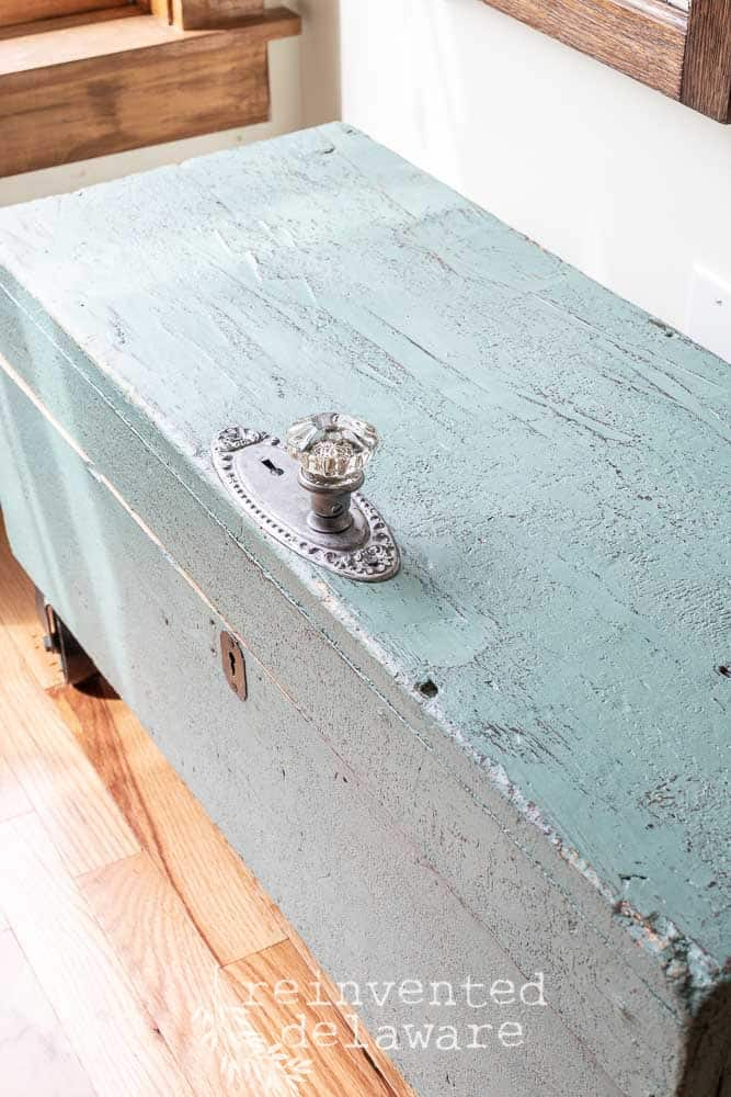 old wood tool box after makeover in MMS Kitchen Scale