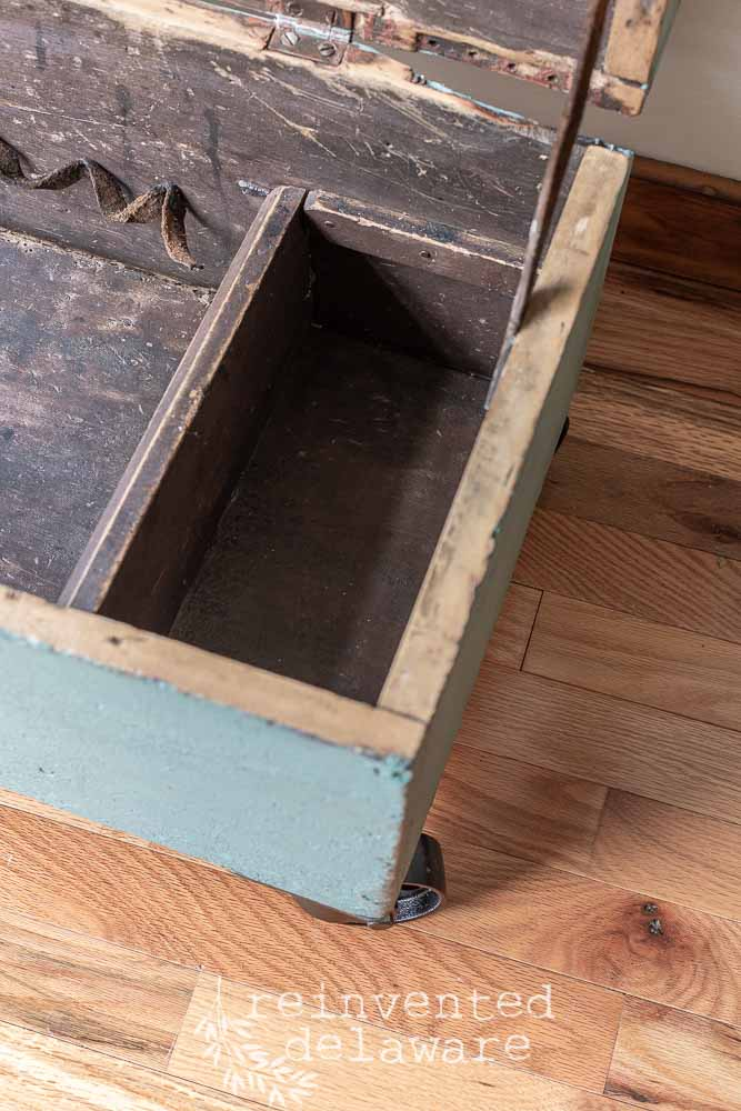 wood toolbox after transformation in MMS Kitchen Scale showing interior of box