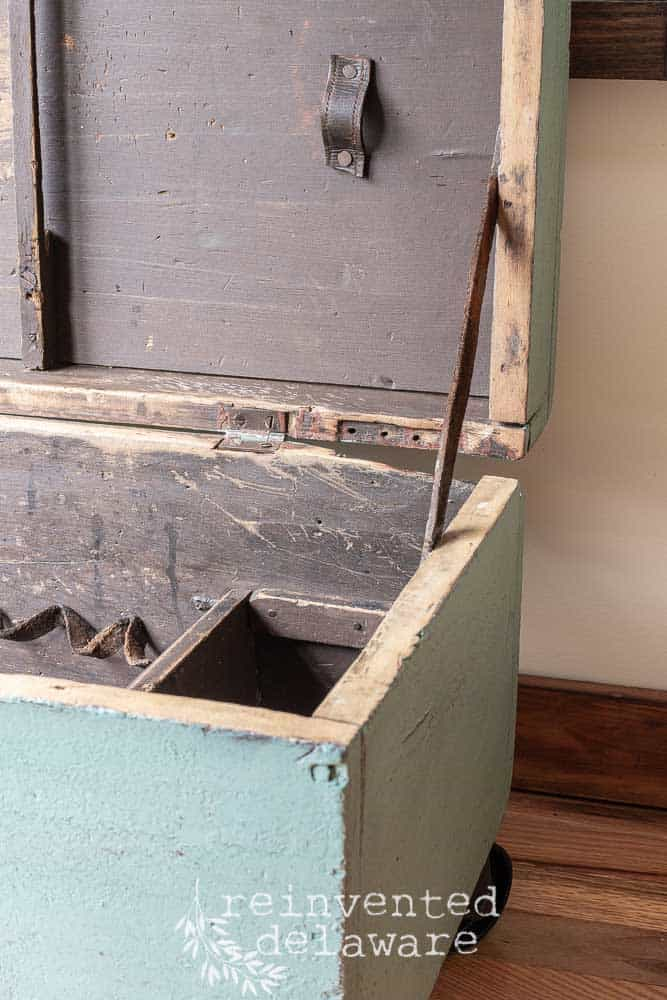old wooden tool box after transformation in MMS Kitchen Scale showing interior of box