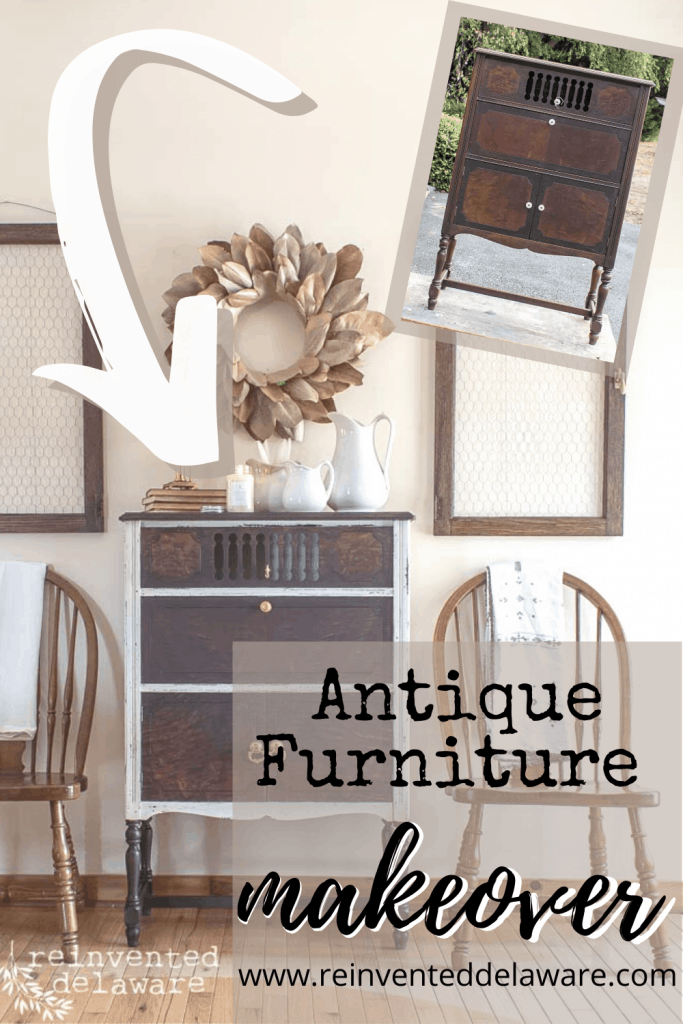 Who doesn't love a gorgeous transformation?  This antique furniture makeover will win your heart!  Using Miss Mustard Seed Milk Paint and a little bit of elbow grease, we transformed an antique radio cabinet into a gorgeous and useful piece of furniture. #furnituremakeover #furniturerestoration #paintedfurniture