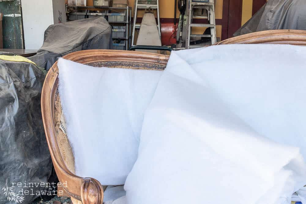 We have been busy covering all the details of this tutorial for this gorgeous antique settee over the last couple of weeks.  Today we will dive into the final parts of the tutorial!  #reupholstery #upholstery #customupholstery