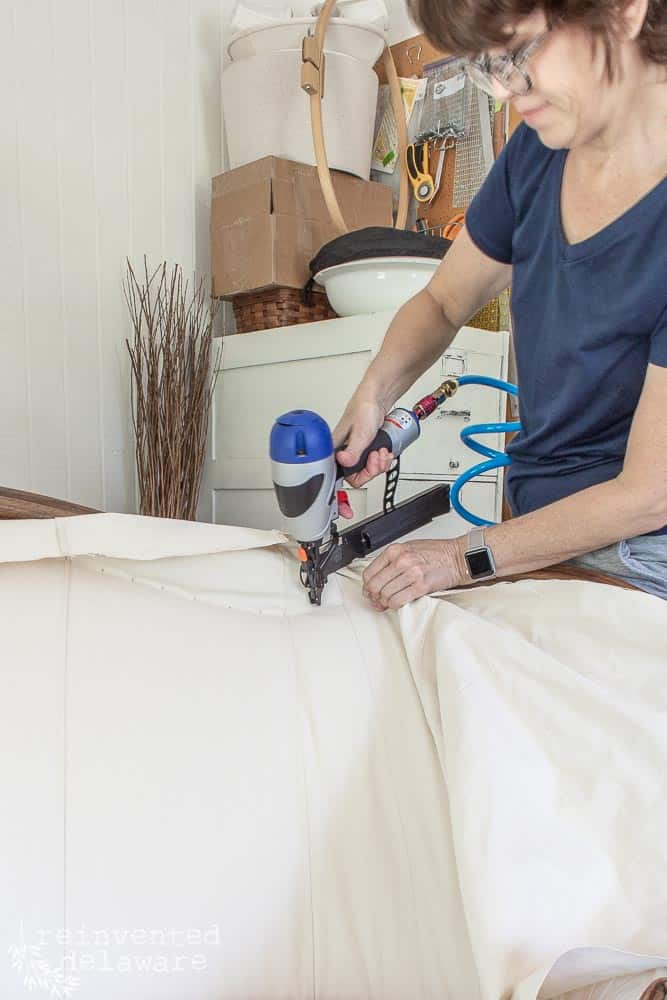 We have been busy covering all the details of this reupholstery tutorial for this gorgeous antique settee over the last couple of weeks.  Today we will dive into the final parts of the tutorial!  #reupholstery #upholstery #customupholstery