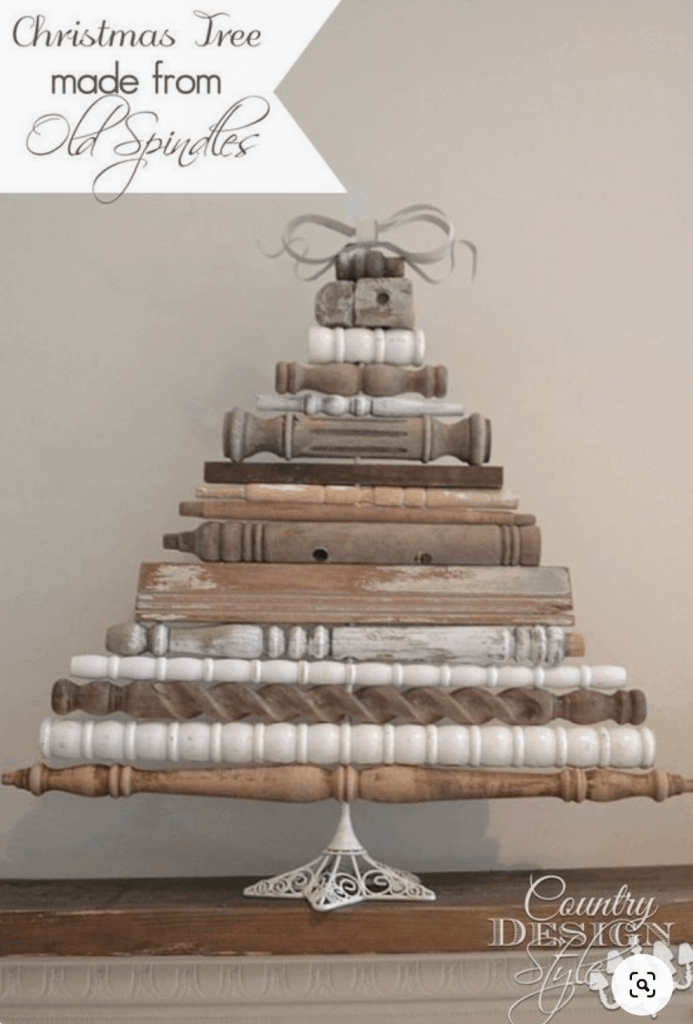 various sizes of spindles made into a Christmas tree