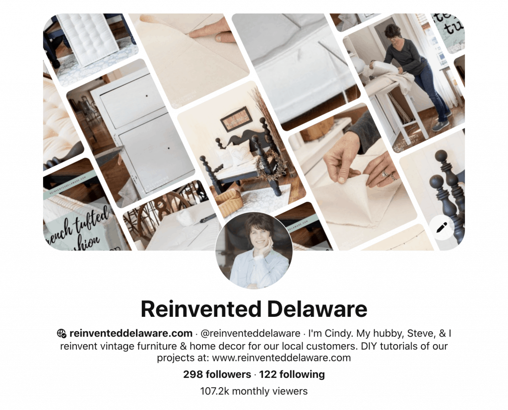 screenshot of Pinterest home page for Reinvented Delaware