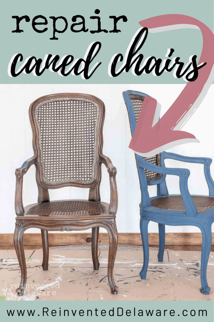 graphic showing pair of caned chairs, one painted and one not yet painted