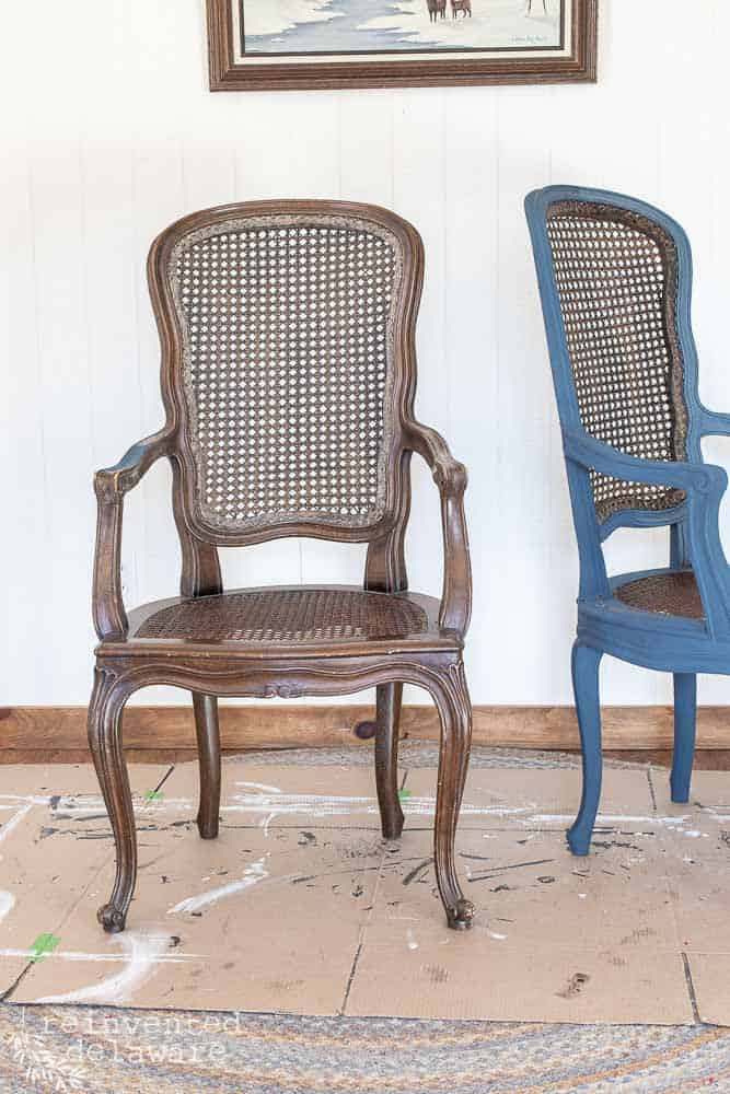 Pair of Caned chairs, one painted and one in original condition