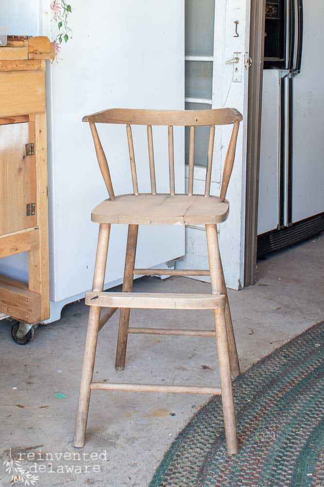 wooden youth chair with broken seat ready to be repaired