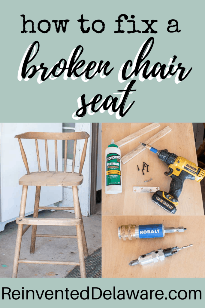 graphic showing broken chair and supplies to repair the broken chair seat