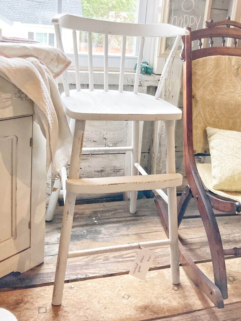 repaired and painted youth chair that had a broken chair seat