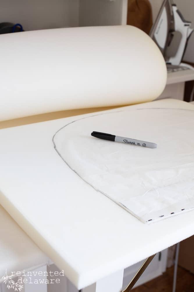 marking pattern on foam for seat cushion