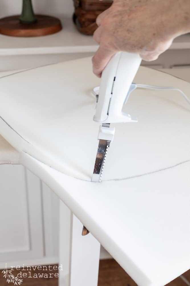 using electric knife to cut foam for chair cusion