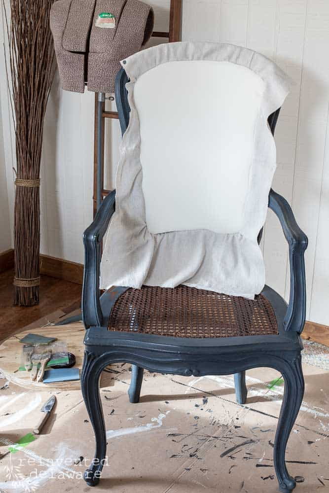 adding foam and fabric to wood caned chairs. just one of our furniture makeover ideas