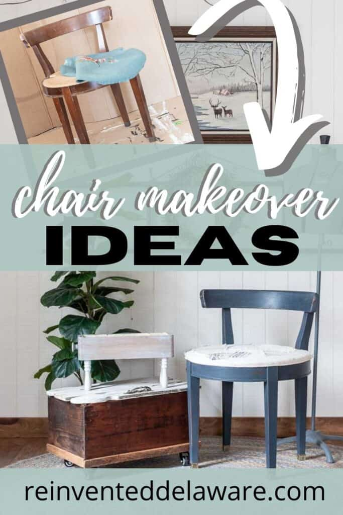 graphic showing before and after of vanity chair makeover ideas