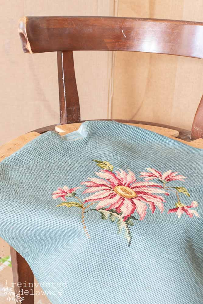 vintage vanity chair with needlepoint fabric removed from seat
