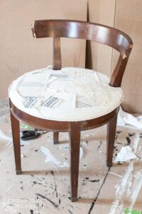 vanity chair with patchwork style chair seat