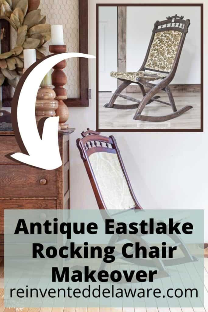 Pinterest graphic showing before and after of rocking chair makeover