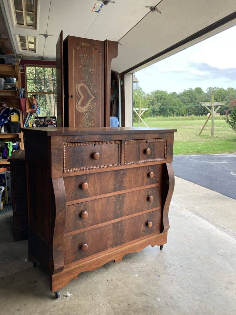 before makeover of dark stained wood mahogony dresser