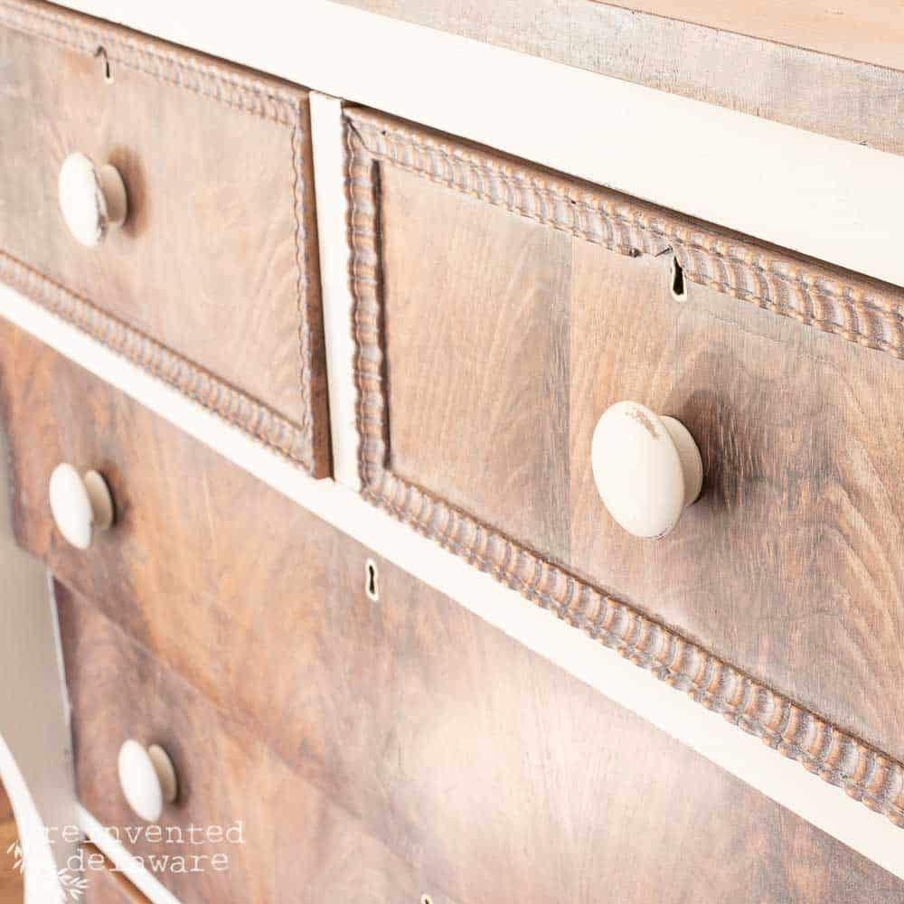 close up of dresser makeover showing decorative detail on drawers.